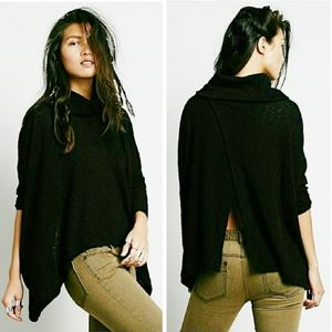 Free People cowl poncho loose fit open back black